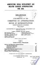 Agriculture  rural development  and related agencies appropriations for 1982