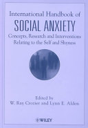 International Handbook Of Social Anxiety