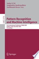 Free Pattern Recognition and Machine Intelligence Read Online