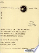 Some Effects of Cold Working by Hydrostatic Extrusion on Mechanical Properties of High strength Steels Book