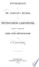 Experiments on Mr. Babbage's Method of Distinguishing Light-houses