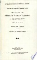 Interstate Commerce Commission Reports  Motor Carrier Cases  Decisions of the Interstate Commerce Commission of the United States