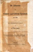Die litteratur der gauner- und geheim-sprachen seit 1700