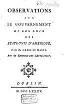Pdf Observations Sur Le Gouvernement Et Les Loix Des États-Unis D'Amerique