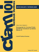 Studyguide for Concise Public Speaking Handbook by Beebe  Steven A   ISBN 9780205753703 Book