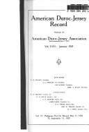 American Duroc Jersey Record Book