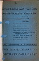 Kwartaalblad Van Die Suid Afrikaanse Biblioteek