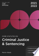 Core Statutes on Criminal Justice   Sentencing 2021 22