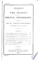 Proceedings of the Society of Biblical Archaeology Book