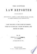 The Scottish Law Reporter Containing Reports