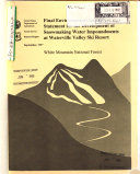 White Mountain National Forest  N F    Snowmaking Water Impoundments at Waterville Valley Ski Resort
