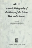Annual Bibliography Of The History Of The Printed Book And Libra Ies