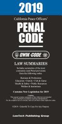 2019 California Peace Officers  Penal Code QWIK CODE