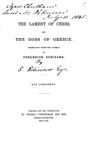 The Lament of Ceres  and the Gods of Greece