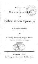 Kritische Grammatik Der Hebr  ischen Sprache