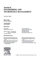 Journal of Engineering and Technology Management  Volume 18  Number 1