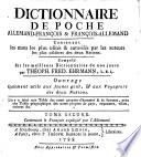 Dictionnaire de poche allemand-françois&françois-allemand