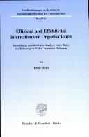 Effizienz und Effektivität internationaler Organisationen