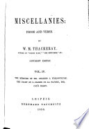 Miscellanies  Memoirs of Mr  Charles J  Yellowplush  Diary of C  Jeames de la Pluche  Esq   Cox s diary