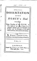 A Critical Dissertation Upon Homer s Iliad