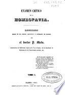 Exámen crítico de la homeopatía