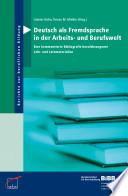 Deutsch als Fremdsprache in der Arbeits- und Berufswelt