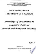 Actes du Colloque sur l'économétrie de la recherche
