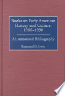 Books On Early American History And Culture 1986 1990