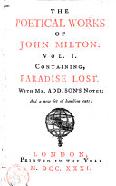 containing, Paradise lost, with Mr. Addison's notes