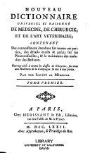 Nouveau dictionnaire universel et raisonné de médecine, de chirurgie, et de l'art vétérinare