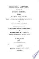 Original Letters  Illustrative of English History Book