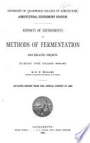 Reports of Experiments on Methods of Fermentation and Related Subjects During the Years 1886-87