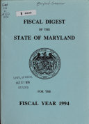 Fiscal Digest of the State of Maryland for the Fiscal Year