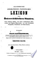 Allgemeines geographisch-statistisches Lexikon aller österreichischen Staaten