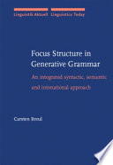 Focus Structure In Generative Grammar Book PDF