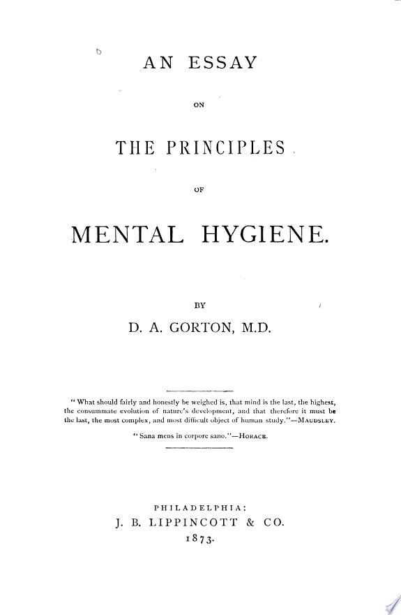 An Essay on the Principles of Menta