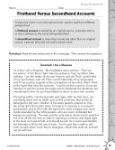 Informational Text: Firsthand Versus Secondhand Accounts Practice