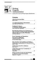 WPA, Writing Program Administration