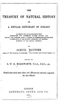 The Treasury of Natural History  Or a Popular Dictionary of Zoology