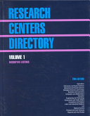 Research Centers Directory Descriptive Listings Book