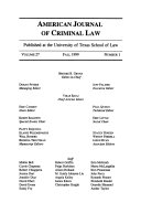 American Journal Of Criminial Law