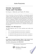 License Agreements Forms And Checklists Gregory J