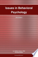 Issues In Behavioral Psychology 2012 Edition Book PDF