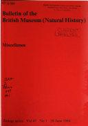 Bulletin Of The British Museum Natural History