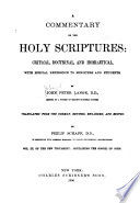 A Commentary on the Holy Scriptures: Numbers