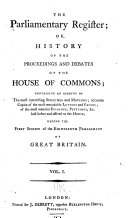 History of the Proceedings and Debates of the House of Commons