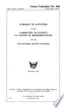 Summary of Activities of the Committee on Science  U S  House of Representatives for the     Congress Book