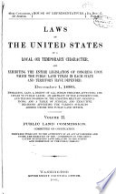 Laws of the United States of a Local Or Temporary Character     Book