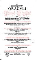 Allgemeines juristisches Oraculum, oder des heil. römisch-teutschen Reiches Juristen-Facultät