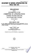 Department of Defense Appropriations for 1991